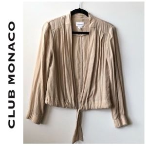 CLUB MONACO • cream deep v tie waist tie top